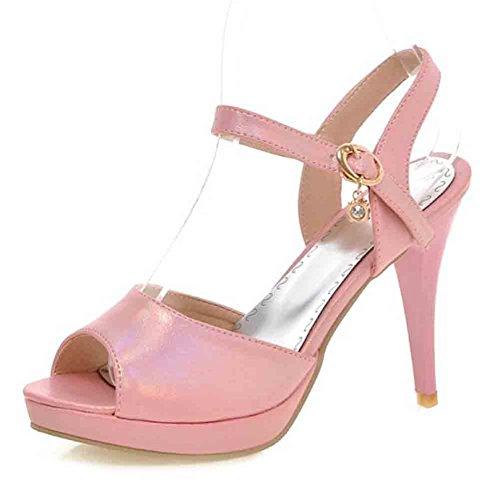 Easemax Womens Sexy Pendant Rhinestones Peep Toe Buckle Straps Platform High Stiletto Heel Slingback Sandals Pink D6Axb8