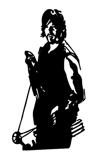 Zombie Walking Dead Daryl Dixon V3, Black, 6 Inch, Die Cut Vinyl Decal, For Windows, Cars, Trucks, Toolbox, Laptops, Macbook-virtually Any Hard Smooth Surface -