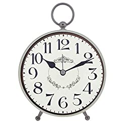 Konigswerk Vintage Table Clock with Battery Operated ,Retro Alarm Clock for Bedroom, Quartz Analog Large Numerals for Desk (AC124G)
