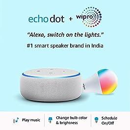 Echo Dot (3rd Gen, White) + Wipro 9W LED Smart Color Bulb combo – Works with Alexa – Smart Home starter kit