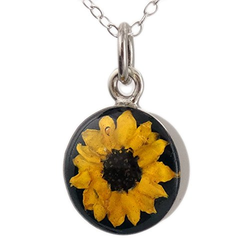 Sterling Silver Real Miniature Sunflower Set in Resin Pendant Necklace, 18