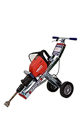 "Makinex JHT-H Complete Jackhammer Trolley, Zinc Coated Frame, Anti-Vibration Ergonomic Design, Large Wheels, 60.6 lb., 3' 3"" X 1' 3"" X 12"""
