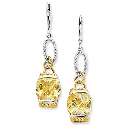 Sterling Silver Vermeil Light Yellow CZ Earrings
