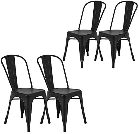 Stackable Metal Dining Chairs, Steel Chair Outdoor Indoor, Tolix Side Bar Chairs, Kitchen Bistro Cafe Iron Side Chairs with Backrest Set of 4 Black
