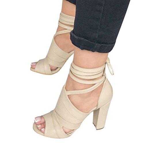 Minetom Sandalen Damen Riemchen Sandaletten High Heels Party Blockabsatz Shoes Elegante Abendschuhe Übergröße Mode Casual Schuhe Sommer B Beige