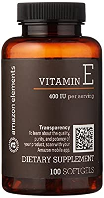 Amazon Brand - Amazon Elements Vitamin E, 400 IU, 100 Softgels, more than a 3 month supply