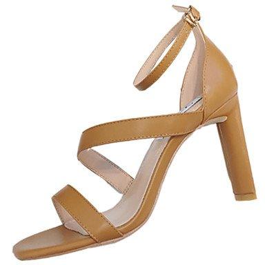 LvYuan Mujer Sandalias Confort PU Verano Confort Tacón Stiletto Negro Beige Morrón Oscuro 12 cms y Más Dark Brown