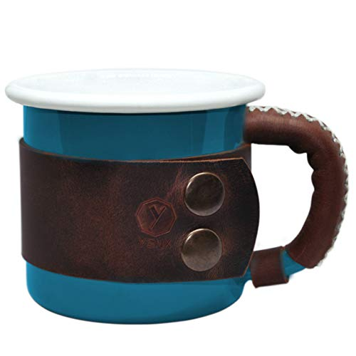 Enamel Mug With Leather Handle Camping Gear Unique Gifts Camping Coffee Mug Sports Outdoor Coffee Cup Healthy Bright Colors 14 oz (400ml) by YSNX