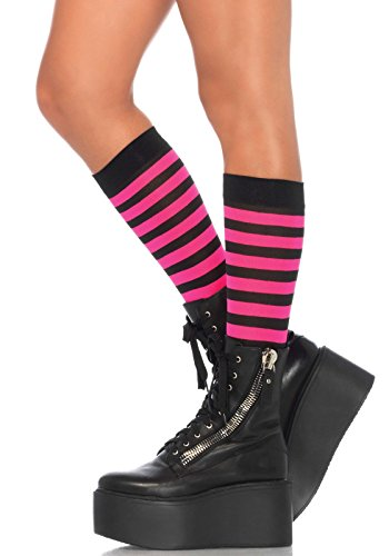 Leg Avenue Women's Striped Knee High Socks, Black/Neon Pink, One (Black And Pink Costumes)