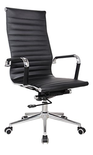 High Back Swivel Tilt Chair - Classic Replica high back office chair BLACK Pleather - stabilizing swivel bar and knee tilt with tensioner knob. (Single High Back, Black) CH2800. IMPROVED STURDY STRUCTURE FOR EXTRA LONG USE