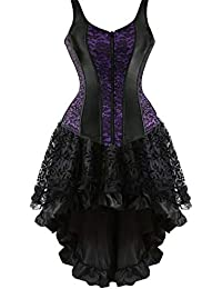 fc3c8980b8 Corset Dress Steampunk for Women Lace Gothic Punk Bustier Skirt Set Costume  Masquerade Plus Size