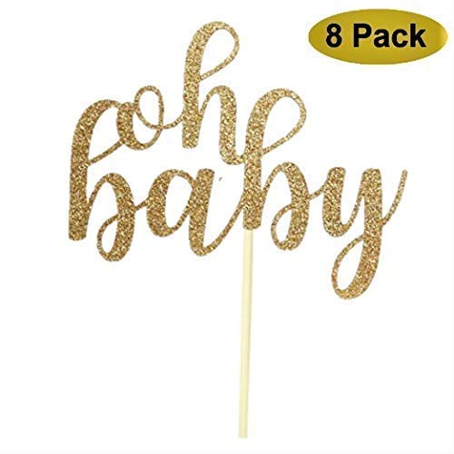 8 Pack Oh Baby Cake Topper, Oh Baby Shower Cake Topper Decorations,Glitter -
