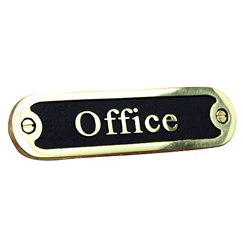 Office Brass Door Sign. Traditional Style Home Décor Wall Plaque Handmade By The Metal Foundry UK. Traditional Home Office