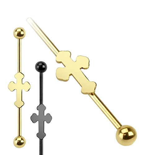 14GA Medieval Cross IP over 316L Surgical Steel Industrial Barbell - Gold