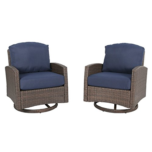 Ulax furniture Outdoor 2-Piece Wicker Swivel Club Chair Patio Lounge Chair with Cushion, Navy Blue Swivel Outdoor Lounge Chair