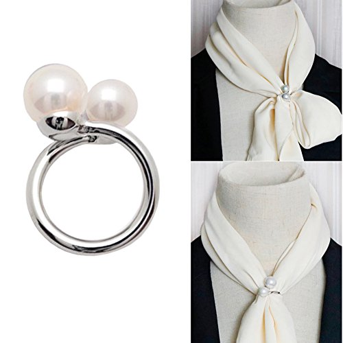 Joyci Simple Circle Design Rings Scarf Buckle Woman's Enchanting Scarf Silk Clip Brooch Pins Clip with Double Pearl (Silver) (Design Ring Circle)
