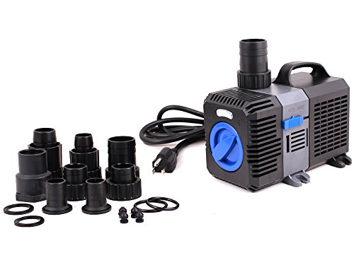 TMS Adjustable Submersible Inline Fish Tank Fountain Aquarium Waterfall Koi Filter 1375 GPH Pond Pump by TMS