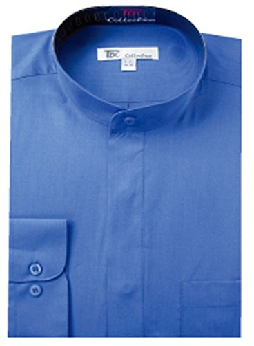 FORTINO LANDI Men's Long-Sleeve Banded Collar Shirt - French Blue 2XL(18-18.5 Neck) Sleeve 36/37
