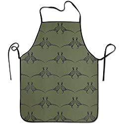 Sandayun88x Apron Pheasant Camo Green Aprons Bib Mens Womens Lace Adjustable Polyester Chef Cooking Long Full Kitchen Aprons For Indoor Restaurant Cleaning Serving Crafting Gardening Baking Bbq Grill
