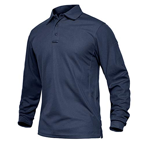EKLENTSON Men's Shirts Long Sleeve Military Polo Shirts Breathable Golf Sports Top Lightweight Quick Dry Tactical Shirts