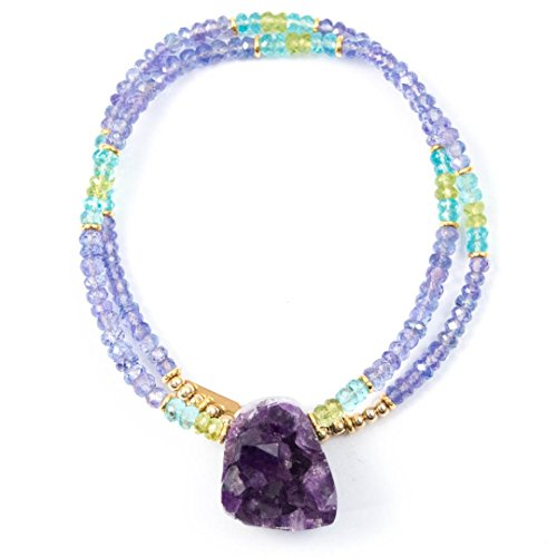 Apatite Peridot Necklace (Raw Amethyst Focal with Tanzanite, Apatite, and Peridot Beaded Necklace - 18 inches long Handmade Gemstone Necklace by Miller Mae Designs)
