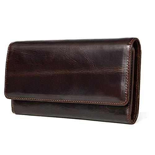 Asdflina Fácil de Cargar Bolso de Mano para Hombres Leisure First Layer Bolso de Embrague de Cuero Clutch Wallet Long Leather Wallet Adecuado para Uso ...