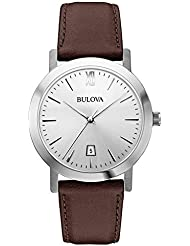 Bulova Unisex 96B217 Stainless Steel Watch with Brown Leather Band
