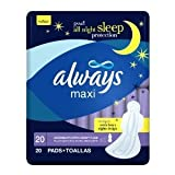 Always Maxi Overnight Extra Heavy Flow with Wings, Unscented Pads, 20-Count (Pack of 6) by Always