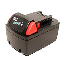 Milwaukee 2646-22CT M18 Cordless 2-Speed Grease Gun Kit Battery - Replacement Milwaukee 18V Battery (1500mAh, Lithium-Ion)