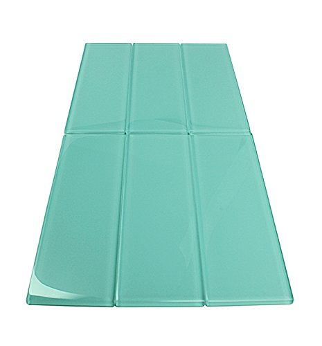 Soft Mint Glossy - 3x9 Soft Mint Glass Tile - Bathroom Tile & Kitchen Backsplash Tile (Price Per 3 Square Feet, 16 Pieces)