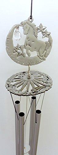 Unicorn Fantasy Pewter Like Garden Wind Chime Mobile Decor with Acrylic Crystal