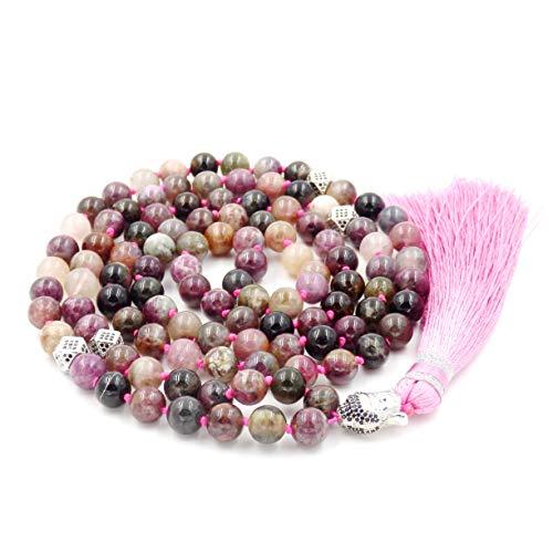 (Mala Beads Necklace, Gemstone Mala Bracelet, Buddhist Prayer Beads Necklace, Tassel Necklace, Knotted Necklace (Tourmaline))