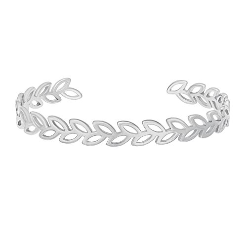 GUANDU Simple Olive Branch Peace Symbol Expandable Bangle Bracelet for Women (Silver)