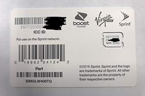 Sprint UICC ICC Nano SIM Card SIMGLW406TQ - Moto G6 Play, Galaxy S9, Samsung A6 (Card Nano For Sprint Sim)