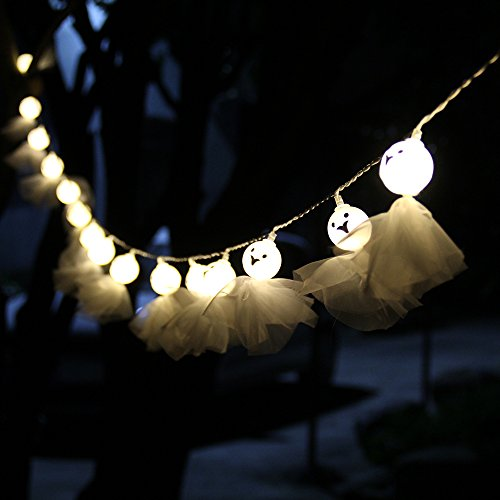 Cute Halloween Decorations (Halloween Ghost String Lights,3 AA Battery 20 LEDs 9.8ft Halloween Decoration String Light for Indoor,Outdoor,Bedroom,Patio,Lawn,Andscape,Fairy Garden,Home,Wedding,Holiday,Party (Warm White))