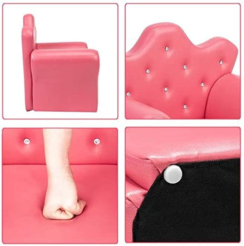 Kids Sofa PVC Princess Mini Sofa Bright Rose Red with