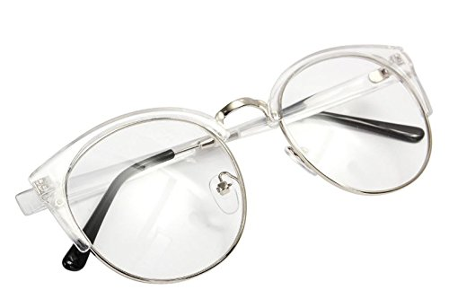 Plain Glasses Vintage Antique Metal Half Rim Frame Eyeglass Clear Unisex Glasses by - Rims Eye Red Cat