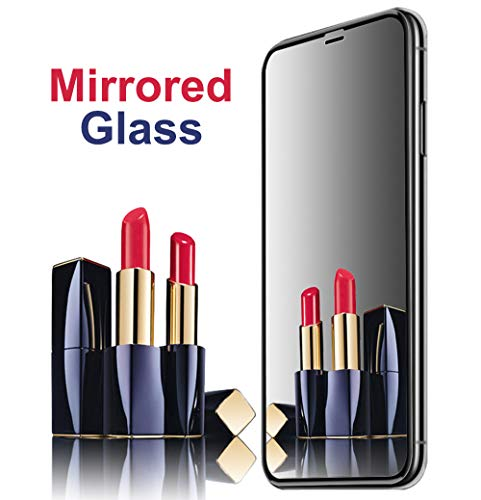 [2 Pack] Mirror Screen Protector for iPhone XR, AIKIN iPhone XR Mirror Screen Protector Tempered Glass Case Friendly HD 9H Hardness Anti-Scratch Full Coverage Mirrored Steel Film 6.1