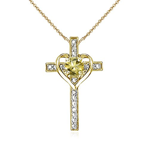 Yellow Gold Flashed Sterling Silver Citrine Cross Heart Pendant Necklace for Girls, Teens or ()