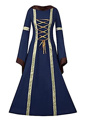 Fashare Womens Medieval Renaissance Costumes Lace Up Floor Length Irish Over Dress Gowns