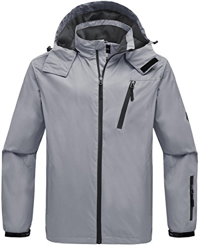 Wantdo Men's Hooded Windproof Rain Jacket Windbreaker Outdoor Zipper Raincoat for Climbing