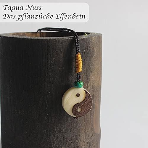 Handgemachte Kette mit Anhänger aus Tagua Nuss BENAVA Halskette Ying und Yang