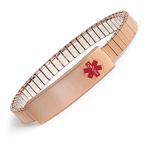 Ladies' Stainless Steel Medilog ID Bracelet with Compartment Plaque and Twist-O-Flex Expansion Band – Gold and Silver Tone (Rose Gold)