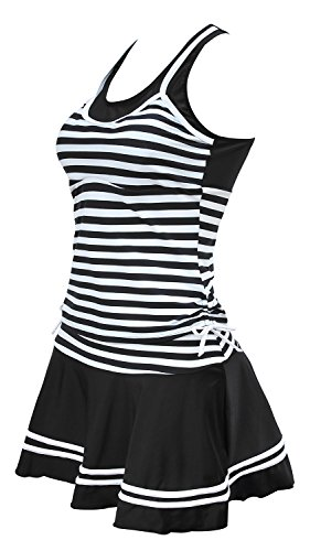 Lemu Women's Naval Streped Tankini Retro Swim Dress Large Black-White