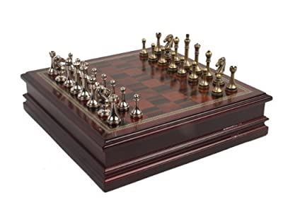Metal Chess Set With Deluxe Wood Board And Storage - 25 King from Classic Game Collection