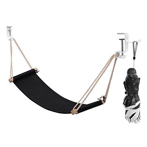 Foot Hammock Under Desk Footrest - Portable Desk Feet Hammock with Headphones Holder - Black