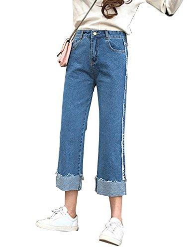 Pantaloni Alta Jeans Vita Colore Donna Solido Palazzo Denim Elegante Blu qAPfTf