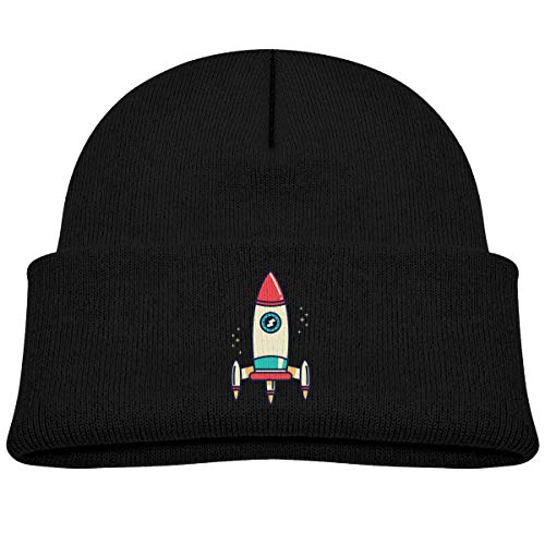 Kids Knitted Beanies Hat Rocket Ship Space Winter Hat Knitted Skull Cap Boys Girls Black