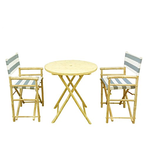 Zew Bamboo 3 Piece Dining Set With Round Folding Table And