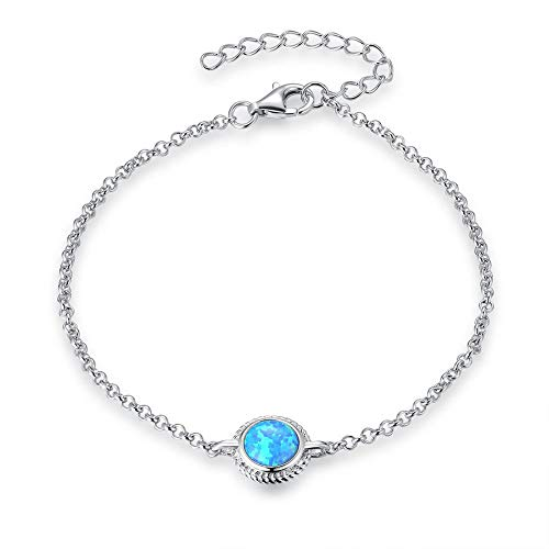 Fancime Sterling Silver Halo Created Opal Link Bracelets Cable Chain Dainty Charm Bracelets for Women Girls 6